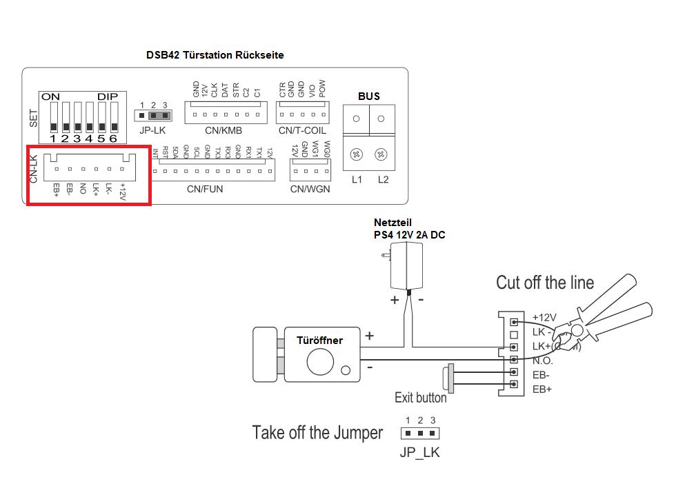 Türöffner an Sprechanlage über RLC (BRK) Modul anschliessen