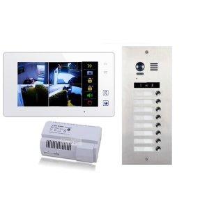 DMR21S8 fe 170° Türklingel Komplettset Videospeicher  +MB87 Touchscreen m.Bild/Videospeicher Monitor weiß