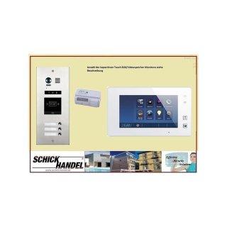 DMR21S3ID Türklingel Komplettset Videospeicher  +MB87 Touchscreen m.Bild/Videospeicher Monitor weiß 4 Monitore