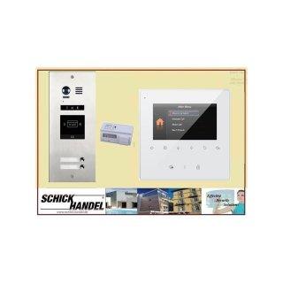 Sprechanlage DMR21/S2/ID RFID Türöffner 2 Klingeltasten einreihig  Türklingel Komplettset +   MB837 Sensortasten  Monitor 2 Monitore