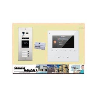 Sprechanlage DMR21/S3/ID RFID Türöffner 3 Klingeltasten einreihig  Türklingel Komplettset +   MB837 Sensortasten  Monitor 2 Monitore