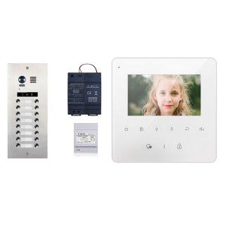 DMR21/D16 16 Klingeltasten doppelreihe 8/8  Türklingel Komplettset  + MB837 Sensortasten   Monitor 16 Monitore + 3x DBC4A