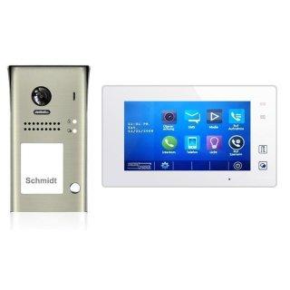 Video Türsprechanlage DSB1207/ID/S1 170° 2Mpx mit RFID-Türöffner  & MB87 Touchscreen m.Bildspeicher SPRECHANLAGE 3 Monitore weiß / Glasfront