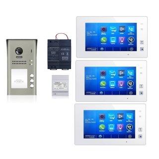 MEHRFAMILIENHAUS AP GEGENTÜR SPRECHANLAGE DSB1207/ID/S3 170° ULTRA-WEITWINKEL 2 MP KAMERA + RFID +MB87 Touchscreen m.Bild/VideospeicherG V2 PAN TILT  VIDEOSPEICHER TÜR SPRECHANLAGE 3 Monitore weiß / Glasfront