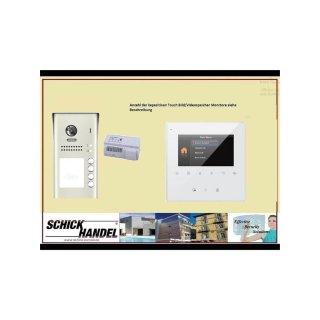 VIDEOTÜR SPRECHANLAGE 4 Tasten AUFPUTZ  MEHRFAMILIENHAUS DSB1207/ID/S4 170° ULTRA-WEITWINKEL 2 MP KAMERA+ MB837 Sensortasten TÜR Video TürVideo  SPRECHANLAGE  Monitor 2 Monitore