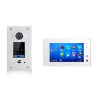 Video Türsprechanlage Türklingel DSB1211F/KP fe 170°  Sensor Zahlencode-Eingabefeld  für Türöffner  & MB87 Touchscreen m.Bild/Videospeicher weiß Videospeicher Monitor
