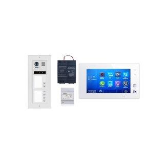 DMR21S6 fe 170° Türklingel Komplettset Videospeicher  +MB87 Touchscreen m.Bild/Videospeicher Monitor weiß