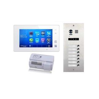 DMR21S7 fe 170° Türklingel Komplettset Videospeicher  +MB87 Touchscreen m.Bild/Videospeicher Monitor weiß