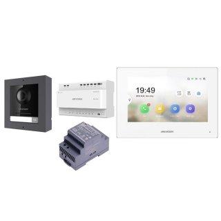 Komplettset DS-KIS702 2 Draht IP Video Türklingel  HIKVISION 2 Megapixel 1x Klingeltaste /AP /1er & Monitor KH6320-WTE2 eine Sprechstelle