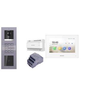 Komplettset 2 Draht IP Video Türklingel  HIKVISION 2 Megapixel 1x Klingeltaste ID/KP  Unterputz 3er Modul Rahmen & Monitor KH6320-WTE2 2 Sprechstellen