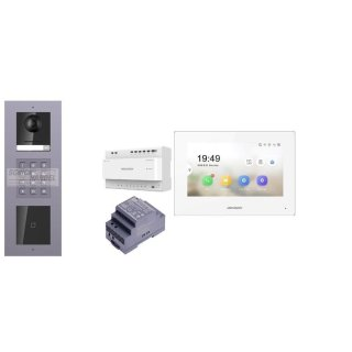 Komplettset 2 Draht IP Video Türklingel  HIKVISION 2 Megapixel 1x Klingeltaste ID/KP  Unterputz 3er Modul Rahmen & Monitor KH6320-WTE2 3 Sprechstellen