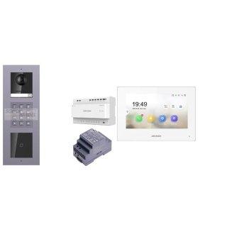 Komplettset 2 Draht IP Video Türklingel  HIKVISION 2 Megapixel 1x Klingeltaste ID/KP  Unterputz 3er Modul Rahmen & Monitor KH6320-WTE2 4 Sprechstellen