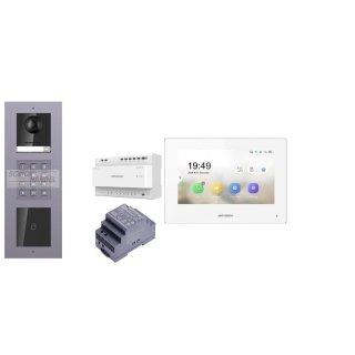 Komplettset 2 Draht IP Video Türklingel  HIKVISION 2 Megapixel 1x Klingeltaste ID/KP  Unterputz 3er Modul Rahmen & Monitor KH6320-WTE2 5 Sprechstellen