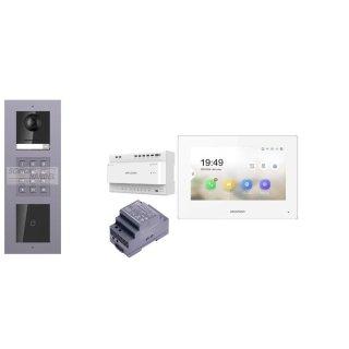 Komplettset 2 Draht IP Video Türklingel  HIKVISION 2 Megapixel 1x Klingeltaste ID/KP  Aufputz 3er Modul Rahmen & Monitor KH6320-WTE2