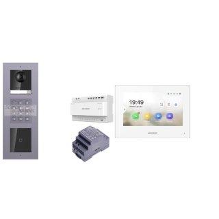 Komplettset 2 Draht IP Video Türklingel  HIKVISION 2 Megapixel 1x Klingeltaste ID/KP  Aufputz 3er Modul Rahmen & Monitor KH6320-WTE2 2 Sprechstellen