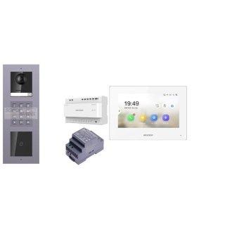 Komplettset 2 Draht IP Video Türklingel  HIKVISION 2 Megapixel 1x Klingeltaste ID/KP  Aufputz 3er Modul Rahmen & Monitor KH6320-WTE2 4 Sprechstellen