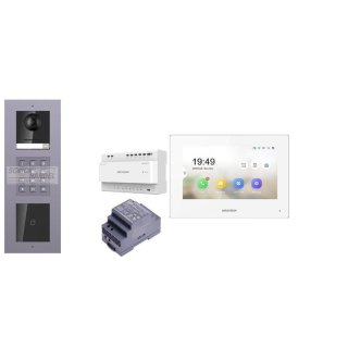 Komplettset 2 Draht IP Video Türklingel  HIKVISION 2 Megapixel 1x Klingeltaste ID/KP  Aufputz 3er Modul Rahmen & Monitor KH6320-WTE2 5 Sprechstellen