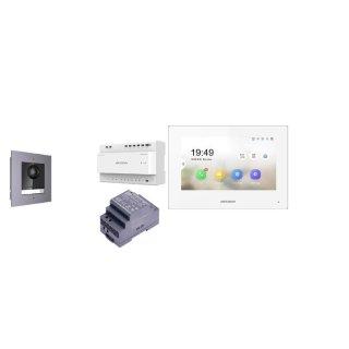 Komplettset 2 Draht IP Video Türklingel  HIKVISION 2 Megapixel 1x Klingeltaste /Unterputz 1er & Monitor KH6320-WTE2 eine Sprechstelle