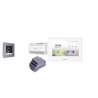 Komplettset 2 Draht IP Video Türklingel  HIKVISION 2 Megapixel 1x Klingeltaste /Unterputz 1er & Monitor KH6320-WTE2 3  Sprechstellen