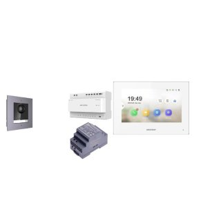 Komplettset 2 Draht IP Video Türklingel  HIKVISION 2 Megapixel 1x Klingeltaste /Unterputz 1er & Monitor KH6320-WTE2 4  Sprechstellen