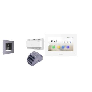 Komplettset 2 Draht IP Video Türklingel  HIKVISION 2 Megapixel 1x Klingeltaste /Unterputz 1er & Monitor KH6320-WTE2 5  Sprechstellen