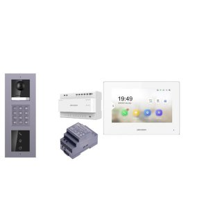 2 Draht IP Video Türklingel  HIKVISION 2 Megapixel 1x Klingeltaste KP/I  Aufputz 3er Modul Rahmen & MOnitor KH6320-WTE2