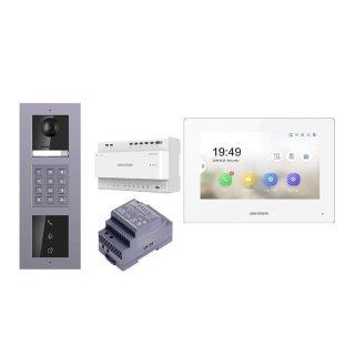 2 Draht IP Video Türklingel  HIKVISION 2 Megapixel 1x Klingeltaste KP/I  Aufputz 3er Modul Rahmen & MOnitor KH6320-WTE2 eine Sprechstelle