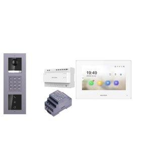 2 Draht IP Video Türklingel  HIKVISION 2 Megapixel 1x Klingeltaste KP/I  Aufputz 3er Modul Rahmen & MOnitor KH6320-WTE2 2 Sprechstellen