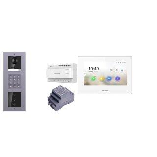 2 Draht IP Video Türklingel  HIKVISION 2 Megapixel 1x Klingeltaste KP/I  Aufputz 3er Modul Rahmen & MOnitor KH6320-WTE2 3 Sprechstellen