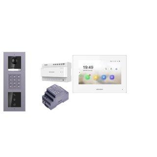 2 Draht IP Video Türklingel  HIKVISION 2 Megapixel 1x Klingeltaste KP/I  Aufputz 3er Modul Rahmen & MOnitor KH6320-WTE2 4 Sprechstellen