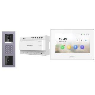 2 Draht IP Video Türklingel  HIKVISION 2 Megapixel 1x Klingeltaste KP/I  Aufputz 3er Modul Rahmen & MOnitor KH6320-WTE2 5 Sprechstellen