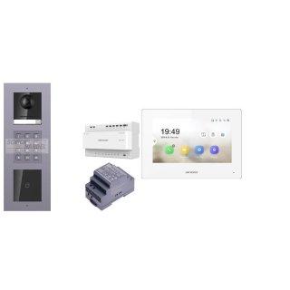 2 Draht IP Video Türklingel  HIKVISION 2 Megapixel 1x Klingeltaste KP/I Unterputz 3er Modul Rahmen & Monitor KH6320-WTE2