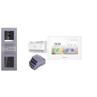2 Draht IP Video Türklingel  HIKVISION 2 Megapixel 1x Klingeltaste KP/I Unterputz 3er Modul Rahmen & Monitor KH6320-WTE2 eine Sprechstelle