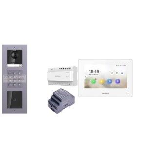 2 Draht IP Video Türklingel  HIKVISION 2 Megapixel 1x Klingeltaste KP/I Unterputz 3er Modul Rahmen & Monitor KH6320-WTE2 2 Sprechstellen