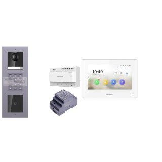 2 Draht IP Video Türklingel  HIKVISION 2 Megapixel 1x Klingeltaste KP/I Unterputz 3er Modul Rahmen & Monitor KH6320-WTE2 3 Sprechstellen
