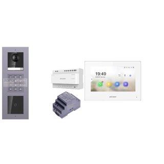 2 Draht IP Video Türklingel  HIKVISION 2 Megapixel 1x Klingeltaste KP/I Unterputz 3er Modul Rahmen & Monitor KH6320-WTE2 4 Sprechstellen