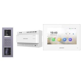 Komplettset 2 Draht IP Video Türklingel  HIKVISION 2 Megapixel 1x Klingeltaste KP/TFT Aufputz 3er Modul Rahmen & Monitor KH6320-WTE2 4 Sprechstellen