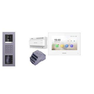 Komplettset 2 Draht IP Video Türklingel  HIKVISION 2 Megapixel 1x Klingeltaste KP/TFT Unterputz 3er Modul Rahmen & Monitor KH6320-WTE2