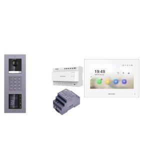 Komplettset 2 Draht IP Video Türklingel  HIKVISION 2 Megapixel 1x Klingeltaste KP/TFT Unterputz 3er Modul Rahmen & Monitor KH6320-WTE2 eine Sprechstelle