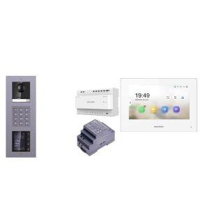 Komplettset 2 Draht IP Video Türklingel  HIKVISION 2 Megapixel 1x Klingeltaste KP/TFT Unterputz 3er Modul Rahmen & Monitor KH6320-WTE2 5 Sprechstellen