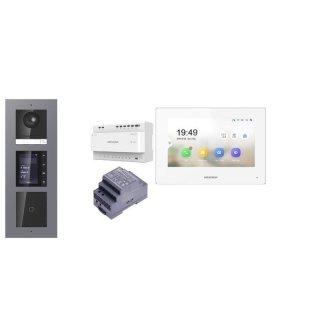 Komplettpaket 2 Draht IP Video Türklingel  HIKVISION 2 Megapixel 1x Klingeltaste /ID/TFT Aufputz 3er Modul Rahmen Monitor KH6320-WTE2 eine Sprechstelle