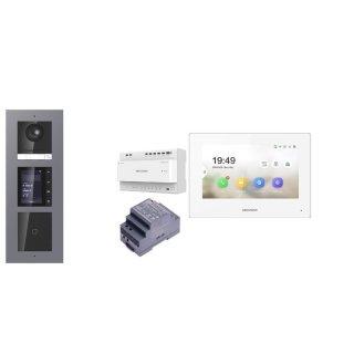 Komplettpaket 2 Draht IP Video Türklingel  HIKVISION 2 Megapixel 1x Klingeltaste /ID/TFT Unterputz 3er Modul Rahmen Monitor KH6320-WTE2 5 Sprechstellen