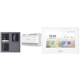 Komplettset 2 Draht IP Video Türklingel  HIKVISION 2 Megapixel 1x Klingeltaste /ID/KP/TFT Aufputz 2er Modul Rahmen & Monitor KH6320-WTE2 2 Sprechstellen