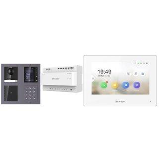 Komplettset 2 Draht IP Video Türklingel  HIKVISION 2 Megapixel 1x Klingeltaste /ID/KP/TFT Aufputz 2er Modul Rahmen & Monitor KH6320-WTE2 4 Sprechstellen