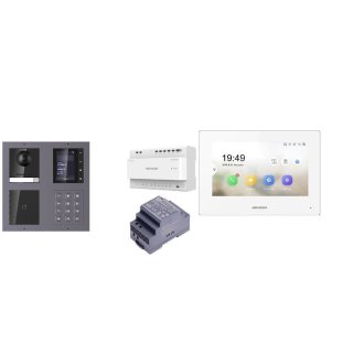 Komplettset 2 Draht IP Video Türklingel  HIKVISION 2 Megapixel 1x Klingeltaste /ID/KP/TFT Unterputz 2er Modul Rahmen & Monitor KH6320-WTE2