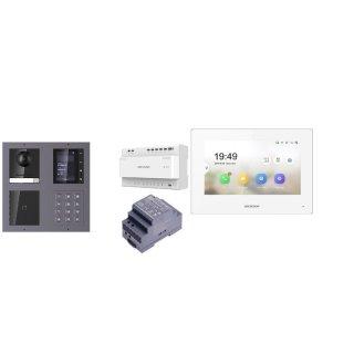 Komplettset 2 Draht IP Video Türklingel  HIKVISION 2 Megapixel 1x Klingeltaste /ID/KP/TFT Unterputz 2er Modul Rahmen & Monitor KH6320-WTE2 2 Sprechstellen