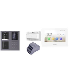 Komplettset 2 Draht IP Video Türklingel  HIKVISION 2 Megapixel 1x Klingeltaste /ID/KP/TFT Unterputz 2er Modul Rahmen & Monitor KH6320-WTE2 3 Sprechstellen