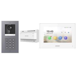 Komplettset 2 Draht IP Video Türklingel  HIKVISION 2 Megapixel 1x Klingeltaste /KP Aufputz & Monitor KH6320-WTE2 4 Sprechstellen