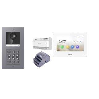 Komplettset 2 Draht IP Video Türklingel  HIKVISION 2 Megapixel 1x Klingeltaste /KP Unterputz & Monitor KH6320-WTE2