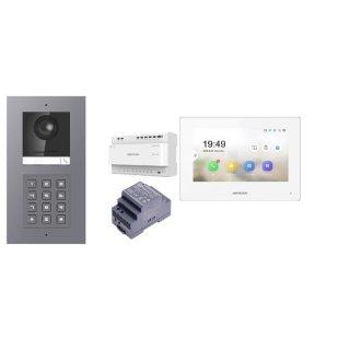 Komplettset 2 Draht IP Video Türklingel  HIKVISION 2 Megapixel 1x Klingeltaste /KP Unterputz & Monitor KH6320-WTE2 2 Sprechstellen